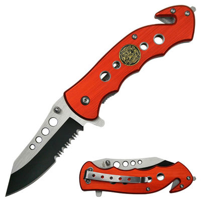 Snake Eyes Fire Fighter Spring Assisted Opening Rescue Knife