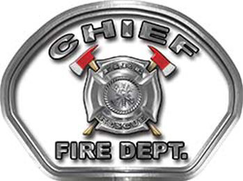 Chief Fire Fighter, EMS, Rescue Helmet Face Decal Reflective in White