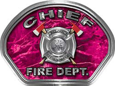 Chief Fire Fighter, EMS, Rescue Helmet Face Decal Reflective in Pink Camo