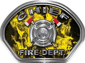 Chief Fire Fighter, EMS, Rescue Helmet Face Decal Reflective in Inferno Yellow