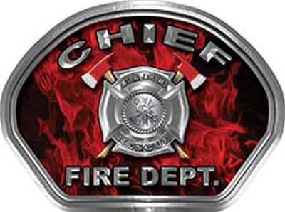 Chief Fire Fighter, EMS, Rescue Helmet Face Decal Reflective in Inferno Red