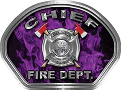 Chief Fire Fighter, EMS, Rescue Helmet Face Decal Reflective in Inferno Purple