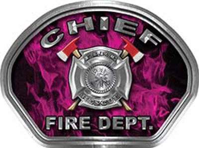 Chief Fire Fighter, EMS, Rescue Helmet Face Decal Reflective in Inferno Pink