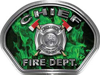 Chief Fire Fighter, EMS, Rescue Helmet Face Decal Reflective in Inferno Green