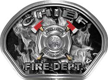 Chief Fire Fighter, EMS, Rescue Helmet Face Decal Reflective in Inferno Gray