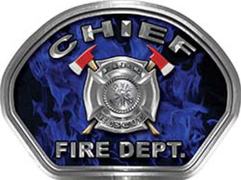 Chief Fire Fighter, EMS, Rescue Helmet Face Decal Reflective in Inferno Blue