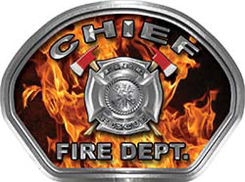 Chief Fire Fighter, EMS, Rescue Helmet Face Decal Reflective in Inferno Real Flames