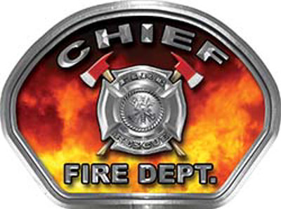 Chief Fire Fighter, EMS, Rescue Helmet Face Decal Reflective in Real Fire