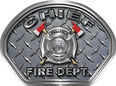 Chief Fire Fighter, EMS, Rescue Helmet Face Decal Reflective With Diamond Plate