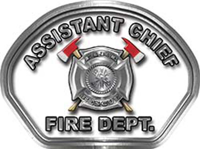 Assistant Chief Fire Fighter, EMS, Rescue Helmet Face Decal Reflective in White