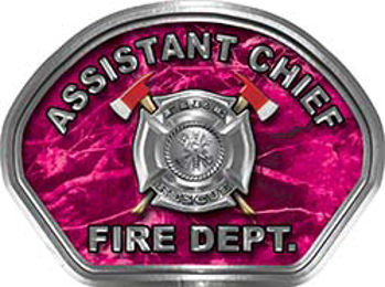 Assistant Chief Fire Fighter, EMS, Rescue Helmet Face Decal Reflective in Pink Camo