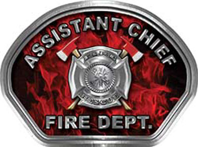 Assistant Chief Fire Fighter, EMS, Rescue Helmet Face Decal Reflective in Inferno Red