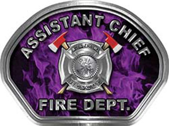 Assistant Chief Fire Fighter, EMS, Rescue Helmet Face Decal Reflective in Inferno Purple