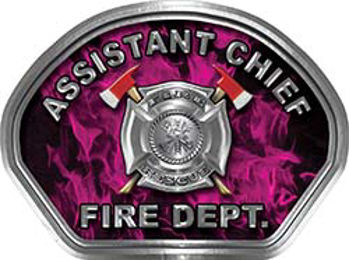 Assistant Chief Fire Fighter, EMS, Rescue Helmet Face Decal Reflective in Inferno Pink
