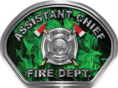 Assistant Chief Fire Fighter, EMS, Rescue Helmet Face Decal Reflective in Inferno Green