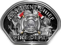 Assistant Chief Fire Fighter, EMS, Rescue Helmet Face Decal Reflective in Inferno Gray