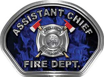 Assistant Chief Fire Fighter, EMS, Rescue Helmet Face Decal Reflective in Inferno Blue