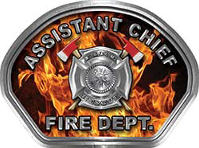 Assistant Chief Fire Fighter, EMS, Rescue Helmet Face Decal Reflective in Inferno Real Flames