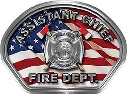 Assistant Chief Fire Fighter, EMS, Rescue Helmet Face Decal Reflective With American Flag