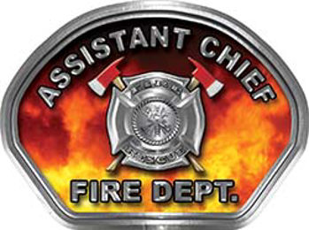 Assistant Chief Fire Fighter, EMS, Rescue Helmet Face Decal Reflective in Real Fire