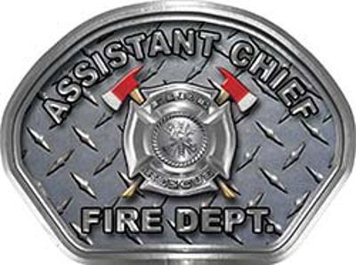 Assistant Chief Fire Fighter, EMS, Rescue Helmet Face Decal Reflective With Diamond Plate