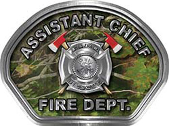 Assistant Chief Fire Fighter, EMS, Rescue Helmet Face Decal Reflective in Real Camo