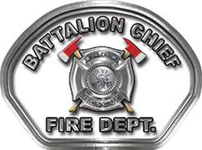 Battalion Chief Fire Fighter, EMS, Rescue Helmet Face Decal Reflective in White