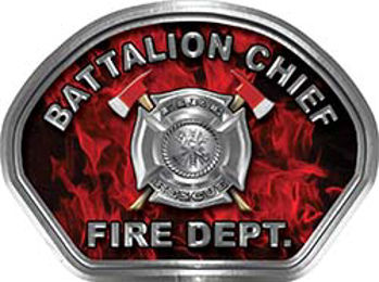 Battalion Chief Fire Fighter, EMS, Rescue Helmet Face Decal Reflective in Inferno Red