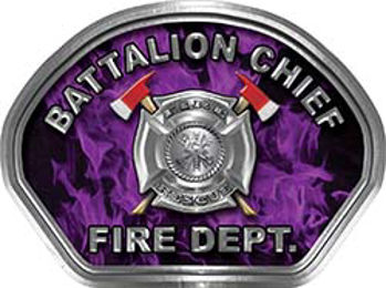 Battalion Chief Fire Fighter, EMS, Rescue Helmet Face Decal Reflective in Inferno Purple