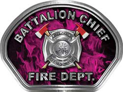 Battalion Chief Fire Fighter, EMS, Rescue Helmet Face Decal Reflective in Inferno Pink