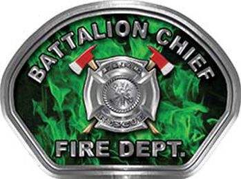 Battalion Chief Fire Fighter, EMS, Rescue Helmet Face Decal Reflective in Inferno Green
