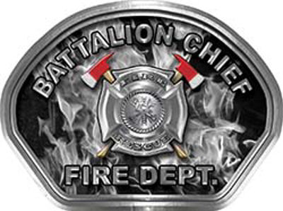 Battalion Chief Fire Fighter, EMS, Rescue Helmet Face Decal Reflective in Inferno Gray