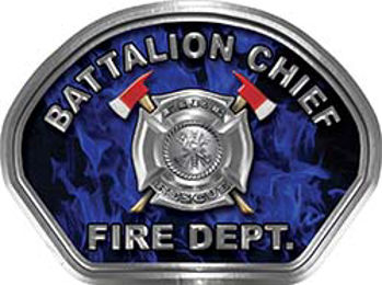 Battalion Chief Fire Fighter, EMS, Rescue Helmet Face Decal Reflective in Inferno Blue