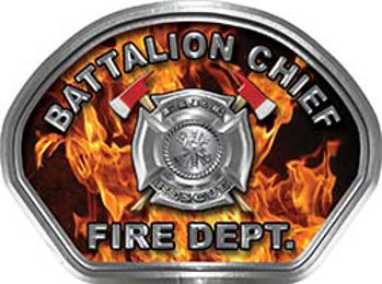 Battalion Chief Fire Fighter, EMS, Rescue Helmet Face Decal Reflective in Inferno Real Flames