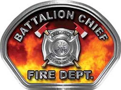 Battalion Chief Fire Fighter, EMS, Rescue Helmet Face Decal Reflective in Real Fire