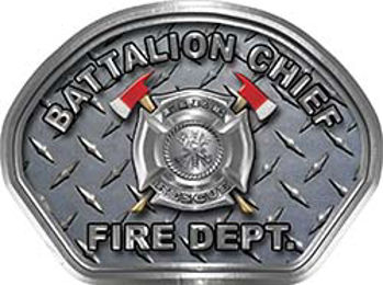 Battalion Chief Fire Fighter, EMS, Rescue Helmet Face Decal Reflective With Diamond Plate