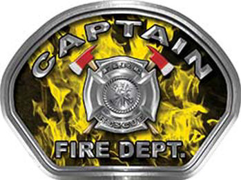 Captain Fire Fighter, EMS, Rescue Helmet Face Decal Reflective in Inferno Yellow