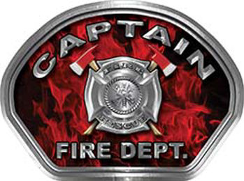 Captain Fire Fighter, EMS, Rescue Helmet Face Decal Reflective in Inferno Red