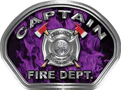 Captain Fire Fighter, EMS, Rescue Helmet Face Decal Reflective in Inferno Purple
