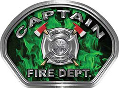 Captain Fire Fighter, EMS, Rescue Helmet Face Decal Reflective in Inferno Green