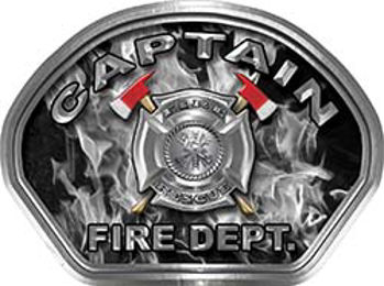 Captain Fire Fighter, EMS, Rescue Helmet Face Decal Reflective in Inferno Gray