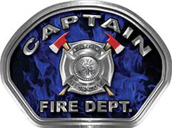 Captain Fire Fighter, EMS, Rescue Helmet Face Decal Reflective in Inferno Blue