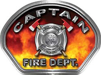 Captain Fire Fighter, EMS, Rescue Helmet Face Decal Reflective in Real Fire