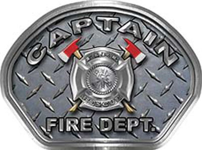 Captain Fire Fighter, EMS, Rescue Helmet Face Decal Reflective With Diamond Plate