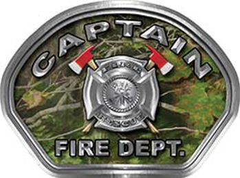 Captain Fire Fighter, EMS, Rescue Helmet Face Decal Reflective in Real Camo