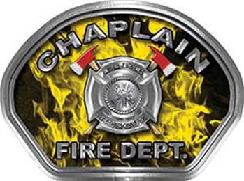 Chaplain Fire Fighter, EMS, Rescue Helmet Face Decal Reflective in Inferno Yellow