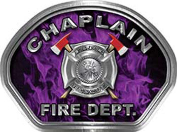Chaplain Fire Fighter, EMS, Rescue Helmet Face Decal Reflective in Inferno Purple