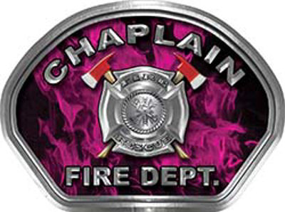 Chaplain Fire Fighter, EMS, Rescue Helmet Face Decal Reflective in Inferno Pink