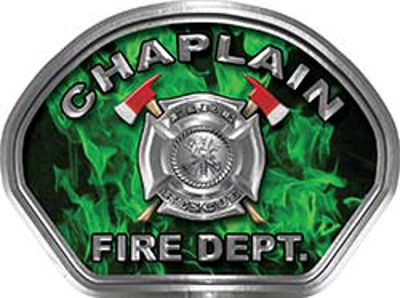 Chaplain Fire Fighter, EMS, Rescue Helmet Face Decal Reflective in Inferno Green