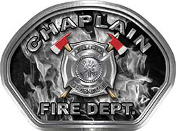 Chaplain Fire Fighter, EMS, Rescue Helmet Face Decal Reflective in Inferno Gray